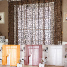 Room Floral Tulle Voile Door Window Curtain Drape Panel Sheer Scarf Valances New