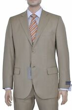 Lubiam Studio Slim Fit Tan Two Button Super 110's Wool Suit Made in Italy