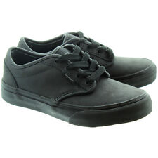 Vans Kids Shoes Atwood Leather Black / Black Back To School Shoe Kids size 10-6