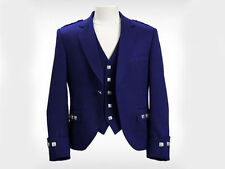 "Blue Argyle Kilt Jacket With Waistcoat/Vest - Sizes 36""- 54"""