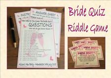 Personalised Hen Party Games How Well Do You Know The Bride Quiz & Riddle Game