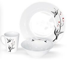 6, 12 Or 18 Piece Porcelain Hummingbird Dinner Set Dinner Plates Bowls Mugs.