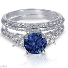White Gold Sterling Silver Brilliant Blue Sapphire Wedding Engagement Ring Set