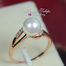 18CT Rose Gold Plated Fashion Pearl Ring Made With Swarovski Crystal
