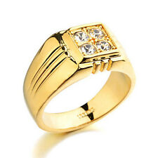 Free Shipping 18k White Gold Plated Crystal 1.0ct  Decorated Men Wedding Ring