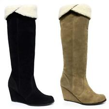 Ladies Womens Leather Suede Wedge Heel Zip Up Knee High Riding Boots Shoes Size