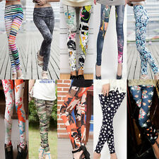 Womens Punk Hipster Printing Funky Stretchy Tights Sexy Pencil Skinny Pants