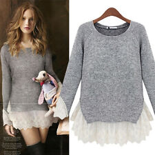 Women's Casual Long Sleeve Knitted Pullover Loose Jumper Sweater Knitwear Tops