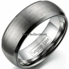 8mm Tungsten Carbide Men's Wedding Band Comfort Fit Ring Brushed Dome Size 8-12