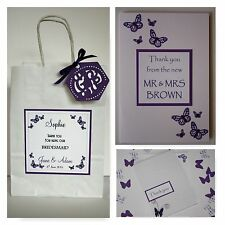 Handmade BUTTERFLY wedding: THANK YOU CARDS & GIFT BAG; 3 designs/60 colours
