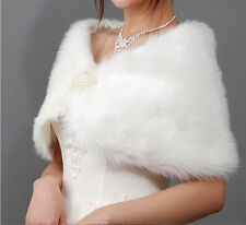 Women Faux Fur Ivory Plush Bridal Wedding Jacket Wrap Shrug Bolero Shawl Cape