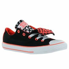 New! Girl's Youth Converse CT All-Star Double Tongue Ox Sneakers Black/Coral G8