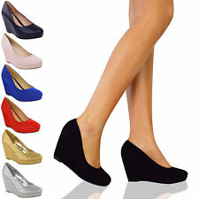 LADIES WOMENS LOW MID HIGH HEELS PLATFORMS WEDGES PUMPS WORK COURT SHOES SIZE