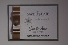 Handmade SNOWFLAKE wedding : SAVE THE DATE; 3 designs, 60 colours/any qty