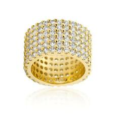 22.5 Ct 18k Yellow Gold Round Pave Wide CZ Cocktail Eternity Ring Band Sze 5-10