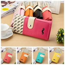 Girls Cartoon Moustache Beard Zipper Leather Long Purse Wallet Card Holder