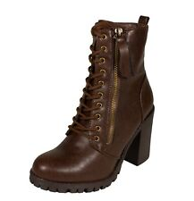 Lustacious Malia Women's Military-Style Ankle Lace-Up Combat Boots Side Zipper