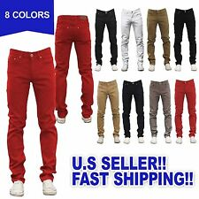 Mens Jeans Slim Fit Straight Skinny Fit Denim Trousers Casual Pants 8 color