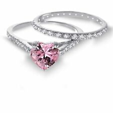 White Gold Heart Cut Pink Sapphire CZ 1.92 CT Wedding Engagement Silver Ring Set