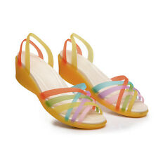 Women Fashion Fluorescence Color Casual Wedges Flat Shoes Beach Slipper Sandals