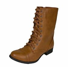RELAX! Women's Military Mid-Calf Lace-up Combat Boots with Side Zipper
