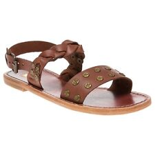 New Womens H by Hudson Tan Axis Leather Sandals Flats Buckle