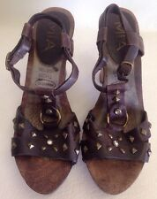 MIA Dark Brown Leather Open Toe Ankle Strap Wedge Heel Studded Shoes Sz.8