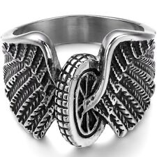 Gothic Hawk Eagle Wing Motorcycle Wheel Biker Army Men's Stainless Steel Ring