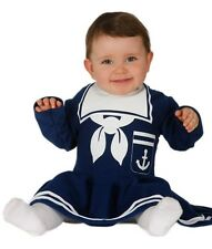 Baby Girls Navy Blue Sailor Halloween Fancy Dress Costume Outfit 6-12 12-24 mths
