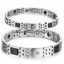 Silver Stainless Steel Link Black Carbon Fiber Mens Womens Magnetic Bracelet