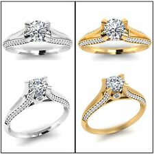 VVS Round Cut Diamond Engagement Ring Solid 14K Gold Ring Diamond Ring