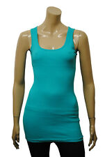 Womens P.C Long Vest Tank Top Ribbed Turquise Size 6 - 20 Ladies WV222