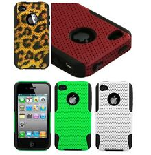 For iPhone 4 4G 4S - Hard & Soft Rubber Hybrid Armor Skin Case Cover Fusion Mesh