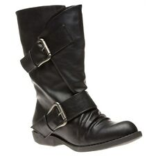 New Womens Blowfish Black Aribeca Synthetic Boots Mid-Calf Buckle