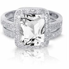 Large Emerald Cut White Sapphire Wedding Engagement Sterling Silver Ring Set