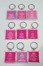 Keep Calm Keyring - Dark Pink - Different Designs to choose from!