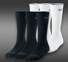 NIKE Crew Socks Size 10-12 -Women  Men's BLACK or WHITE~ 3 PAIR!-