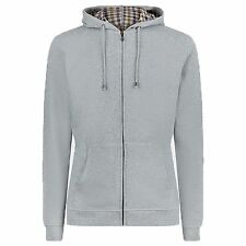 Aquascutum Mens Designer Luther Vicuna Check Casual Zip Hooded Sweatshirt Grey