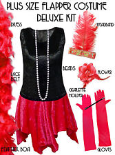 Black / Red  Roaring 20's PLUS SIZE Flapper Dress Halloween Costume XL to 9x