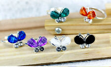 Adjustable silver tone resin and crystal butterfly ring multiple colours