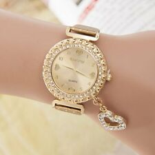Women Bangle Bracelet Smooth Band Crystal Dial Quartz Analog Wrist Watch New