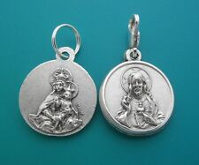 BROWN SCAPULAR MEDAL Round Our Lady of Mount Carmel Silver Clip on Charm Pendant