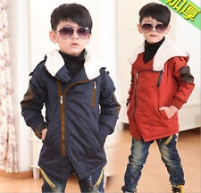 Kids Toddlers Boys Girls Zipper Fleece Hoodies Warm Coat Jacket Snowsuit 2-8Y