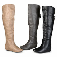 Brinley Co. Womens Buckle Detail Inside Pocket Faux Leather Boots