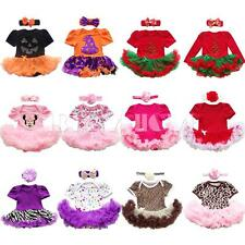 2PCS Baby Girls Infant Xmas Halloween Holiday Romper Tutu Dress Outfits 0-12M