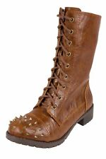 BUTTER! Women's Spike Studded Military-Styled Combat Lace Up Mid-Calf Boots