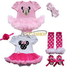 Newborn Baby Girls Minnie Mouse Romper Tutu Fancy Dress Outfit Clothes Set 0-9M