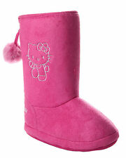 NEW GIRLS OFFICIAL HELLO KITTY PINK FURRY SLIPPERS BOOTIES KIDS UK SIZE 10-12