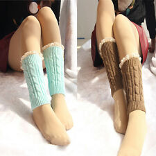 Delicate Knitted Lace Trim Boot Cuffs Toppers Leg Warmers Socks Nice Quality