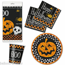 Halloween Chequer Pumpkin Skull Party Plates Napkins Cups Tableware Listing